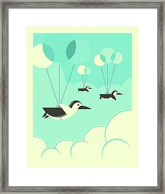 Flock Of Penguins Framed Print by Jazzberry Blue