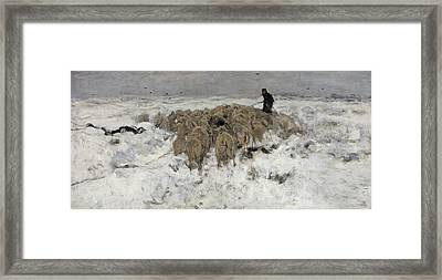 Flock Of Sheep With Shepherd In The Snow Framed Print by Anton Mauve