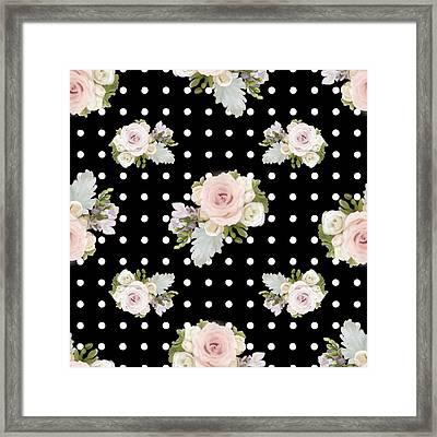 Floral Rose Cluster W Dot Bedding Home Decor Art Framed Print by Audrey Jeanne Roberts