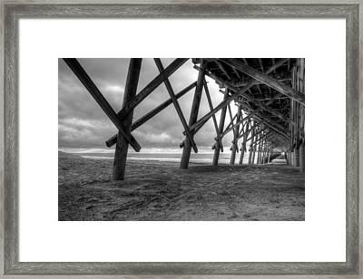 Folly Beach Pier Black And White Framed Print by Dustin K Ryan