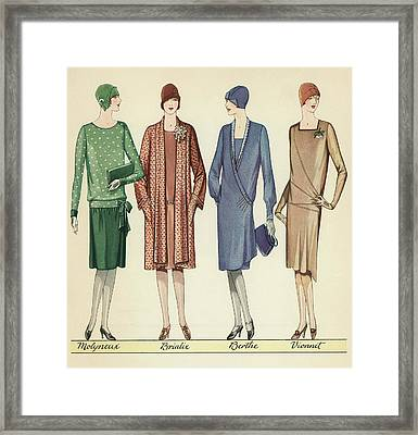 Four Flappers Modelling French Designer Outfits, 1928  Framed Print by American School