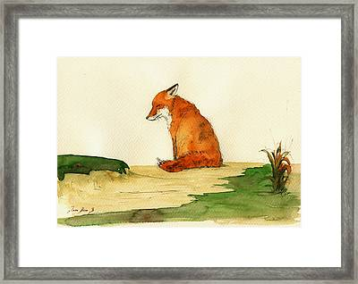 Fox Sleeping Painting Framed Print by Juan  Bosco