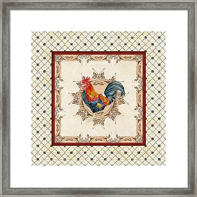 French Country Roosters Quartet Cream 2 Framed Print by Audrey Jeanne Roberts