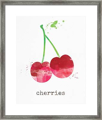 Fresh Cherries Framed Print by Linda Woods