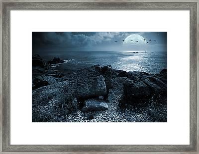 Fullmoon Over The Ocean Framed Print by Jaroslaw Grudzinski