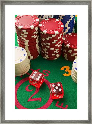 Gambling Dice Framed Print by Garry Gay