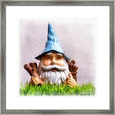 Garden Gnome Framed Print by Edward Fielding