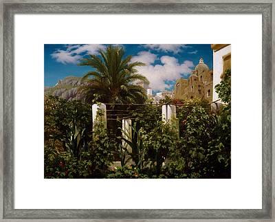 Garden Of An Inn, Capri Framed Print by Frederic Leighton