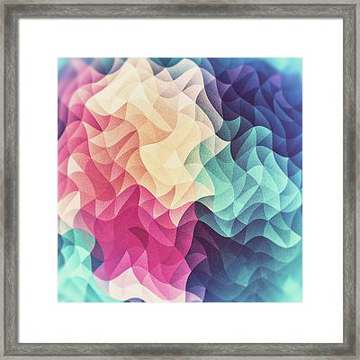 Geometry Triangle Wave Multicolor Mosaic Pattern  Hdr  Low Poly Art Framed Print by Philipp Rietz