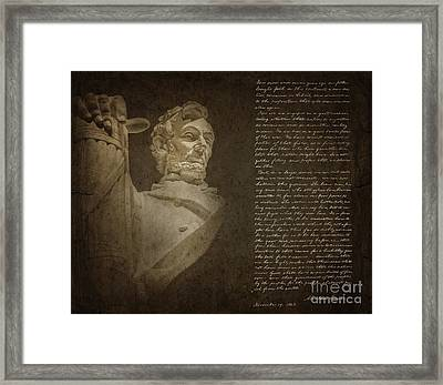 Gettysburg Address Framed Print by Diane Diederich
