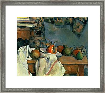 Ginger Pot With Pomegranate And Pears  Framed Print by Paul Cezanne