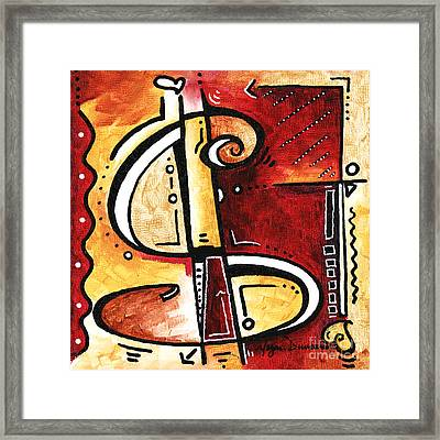 Golden Is A Fun Funky Mini Pop Art Style Original Money Painting By Megan Duncanson Framed Print by Megan Duncanson