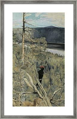 Great Black Woodpecker Framed Print by Akseli Gallen-Kallela