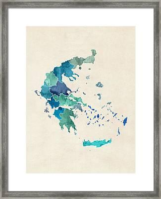 Greece Watercolor Map Framed Print by Michael Tompsett