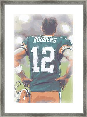 Green Bay Packers Aaron Rodgers Framed Print by Joe Hamilton