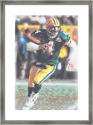 Green Bay Packers Brett Favre Framed Print by Joe Hamilton