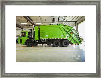Green Garbage Truck Maintenance Framed Print by Don Mason