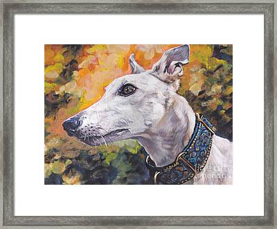 Greyhound Portrait Framed Print by Lee Ann Shepard