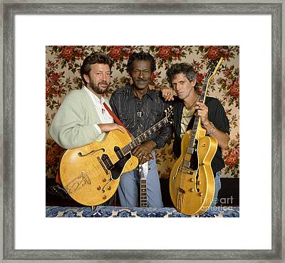 Guitar Legends Berry, Clapton Framed Print by Terry O'Neill