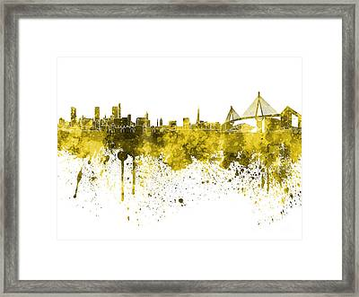 Hamburg Skyline In Yellow Watercolor On White Background Framed Print by Pablo Romero