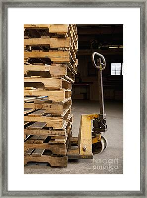 Hand Truck And Wooden Pallets Framed Print by Shannon Fagan