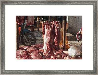 Hanging Meat Framed Print by Daniel Ronneberg