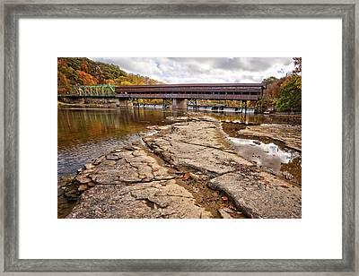 Harpersfield Covered Bridge Framed Print by Marcia Colelli