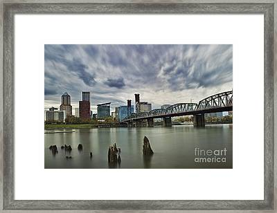 Hawthorne Bridge Across The Willamette Portland Oregon  Framed Print by Peter Dang