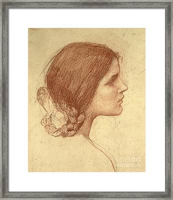 Head Of A Girl Framed Print by John William Waterhouse