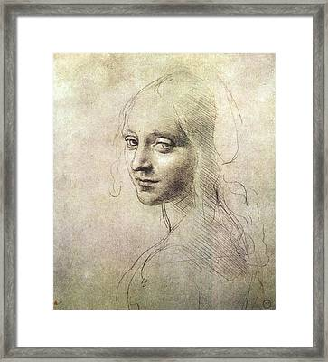 Head Of A Girl Framed Print by Leonardo da Vinci