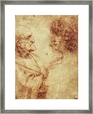 Heads Of An Old Man And A Youth Framed Print by Leonardo da Vinci