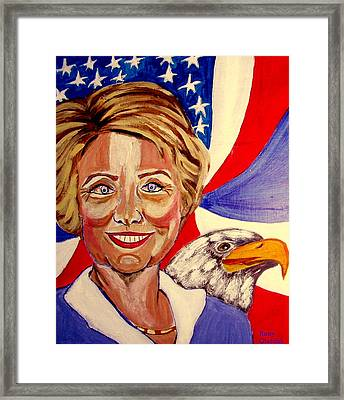 Hillary Clinton Framed Print by Rusty Woodward Gladdish