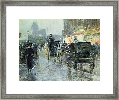 Horse Drawn Cabs At Evening In New York Framed Print by Childe Hassam