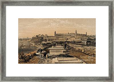 Hospital And Cemetery At Scutari, C.1854 Framed Print by Wellcome Images