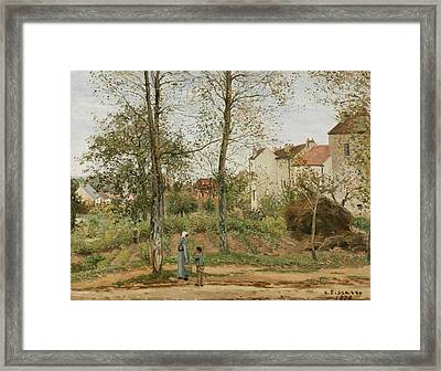 Houses At Bougival  Framed Print by Camille Pissarro