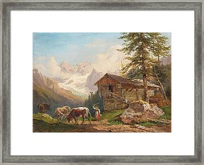 Hut With Dairymaid And Cows Framed Print by Franz Xaver
