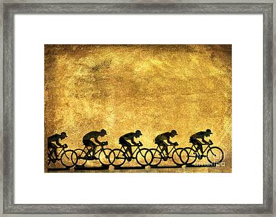 Illustration Of Cyclists Framed Print by Bernard Jaubert