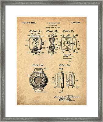 J B Kislinger Watch Patent 1933 Red Framed Print by Bill Cannon