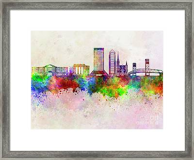 Jacksonville Skyline In Watercolor Background Framed Print by Pablo Romero