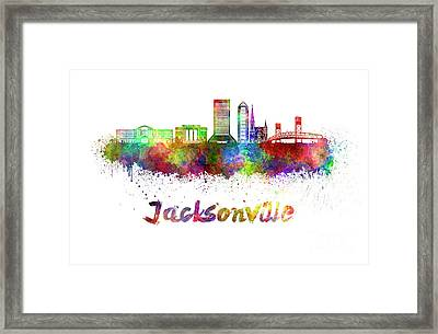 Jacksonville Skyline In Watercolor Framed Print by Pablo Romero