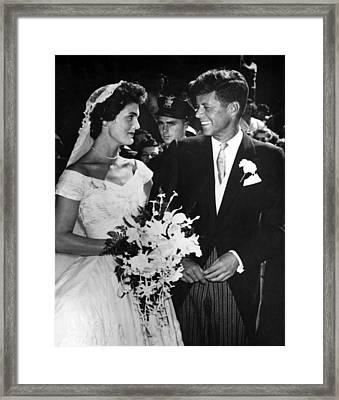 Jacqueline Kennedy And John F. Kennedy Framed Print by Everett