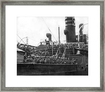 Japanese Troops In Shanghai Framed Print by Underwood Archives