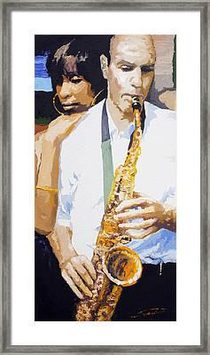 Jazz Muza Saxophon Framed Print by Yuriy  Shevchuk