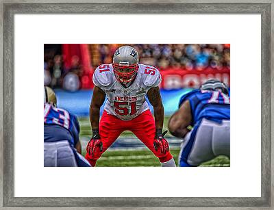 Jerod Mayo Of The New England Patriots Framed Print by Mountain Dreams