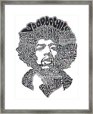 Jimi Hendrix Black And White Word Portrait Framed Print by Kato Smock