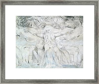 Job And His Daughters  Framed Print by William Blake