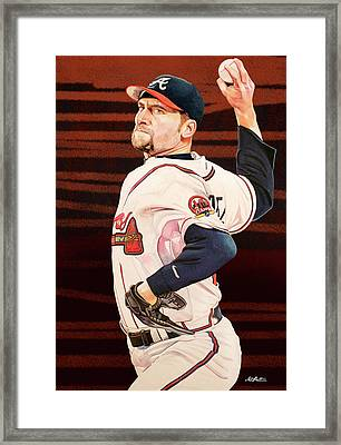 John Smoltz - Atlanta Braves Framed Print by Michael Pattison
