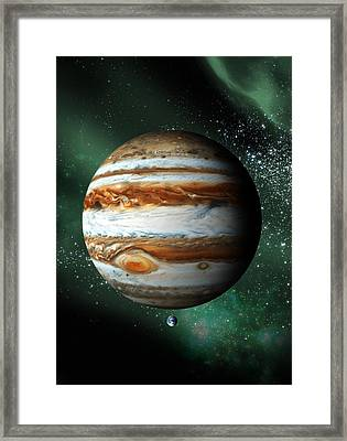 Jupiter And Earth, Artwork Framed Print by Victor Habbick Visions