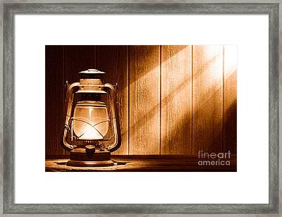 Kerosene Lantern - Sepia Framed Print by Olivier Le Queinec