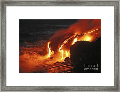 Kilauea Lava Flow Sea Entry, Big Framed Print by Martin Rietze